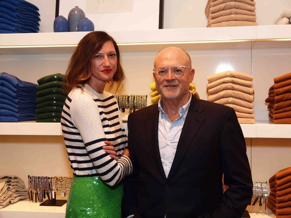 jenna lyon at the opening of j.crew yorkdale... striped sweater + green sequin skirt + red lips