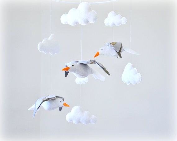 Seagull mobile  Seagulls and clouds  Cape Cod door LullabyMobiles, $156.00