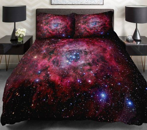 Galaxy Quilt Cover Galaxy Duvet Cover Galaxy Sheets Space Sheets Outer Space Bedding Set Bedspread with 2 Matching Pillow Covers (FULL)
