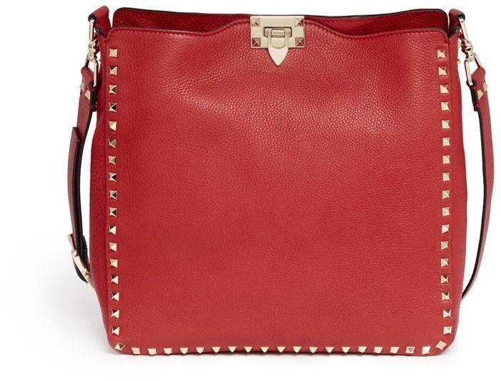 VALENTINO Rockstud leather hobo messenger bag