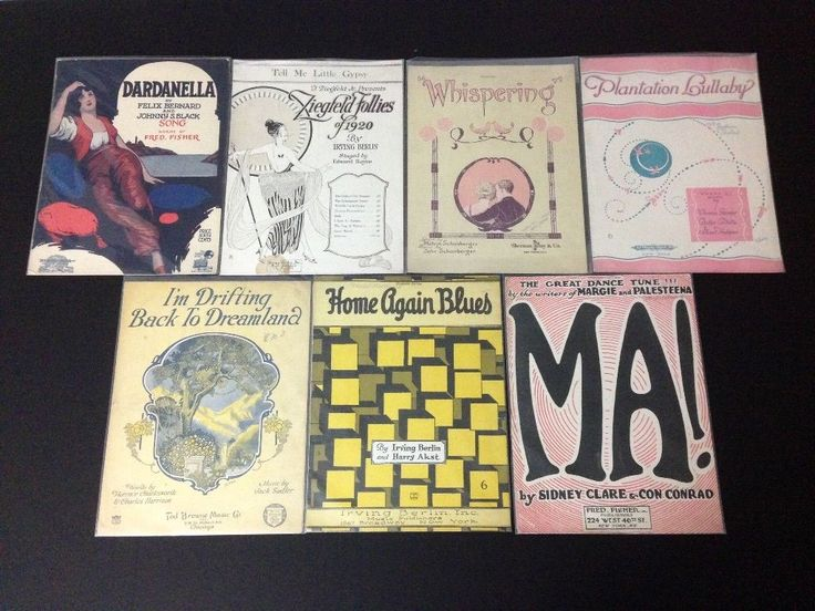 Lot of 7 Vintage 1920s 1919-1921 Copyright Sheet Music Voice Piano Irving Berlin