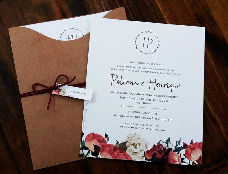 Convite rústico floral | Estúdio Amora | Elo7