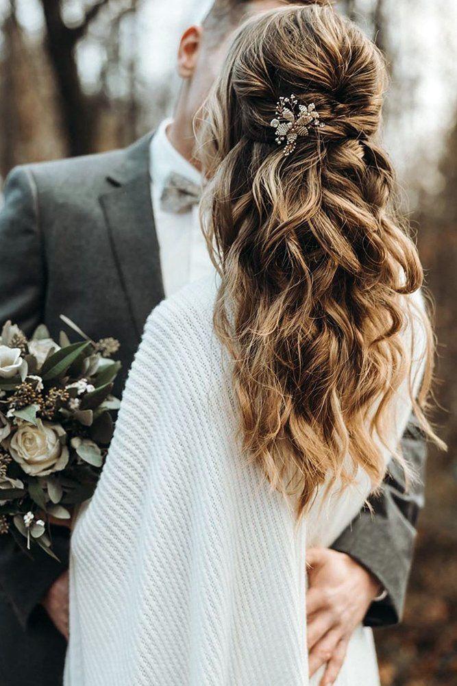 42 Boho Wedding Hairstyles For Tender Bride Wedding Hair Half Half Up Wedding Hair Wedding Hairstyles For Long Hair