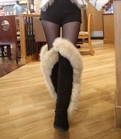2014 winter High Quality  fox fur boots New Fashion snow boots for women  real genuine leather Nature sexy Knee-length boots