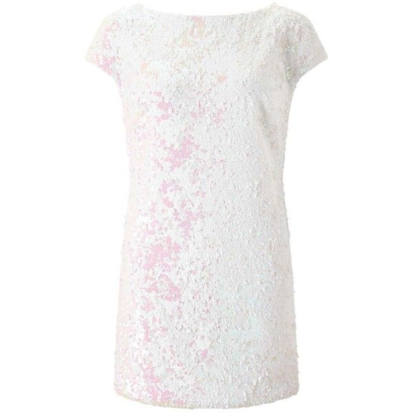 Miss Selfridge Sequin Tea Dress ($106) ❤ liked on Polyvore featuring dresses, white, summer party dresses, sequin dress, summer day dresses, white going out dresses and night out dresses