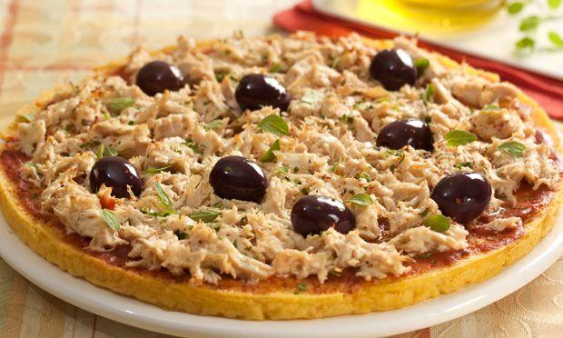 APRENDA A FAZER Pizza de polenta com cobertura de frango