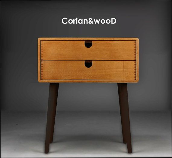 Mid-Century Scandinavian Side Table / Nightstand - Two drawers and retro legs made of solid oak
