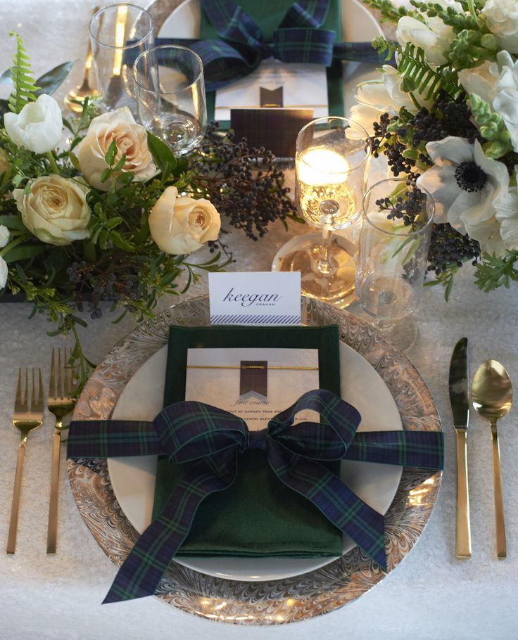 Love this place setting    Photography: Charlotte Jenks Lewis Photography - charlottejenkslewis.com  Read More: http://www.stylemepretty.com/tri-state-weddings/2014/03/17/tartan-and-tulle-inspiration-shoot/