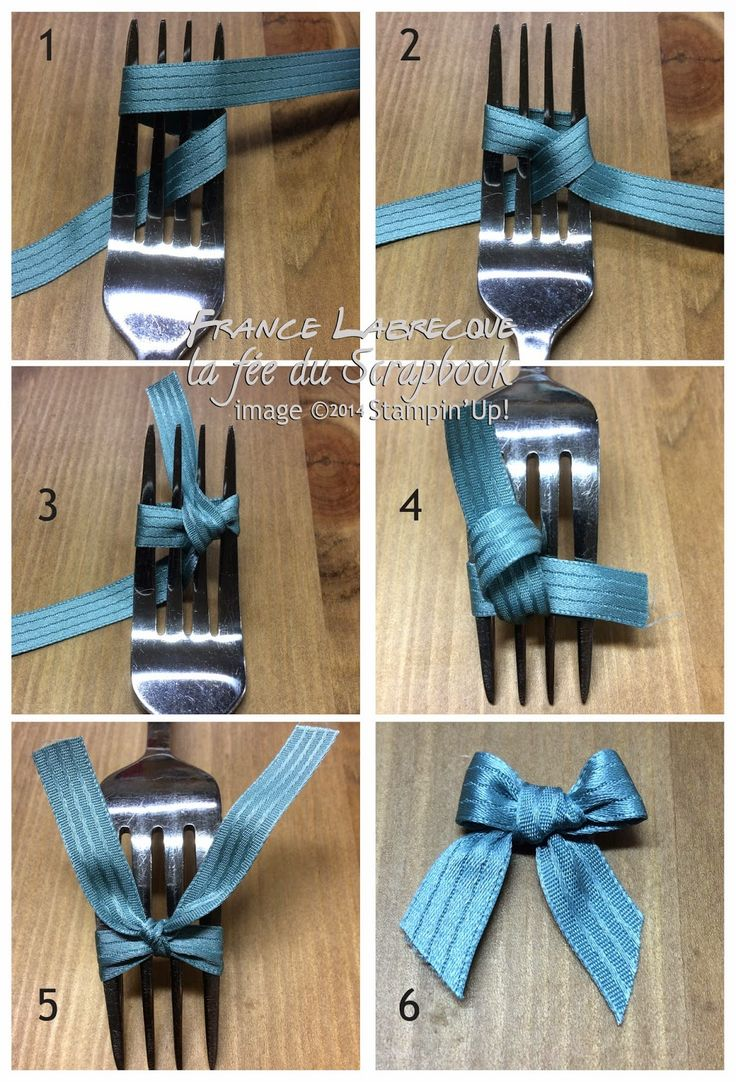 photo tutorial from The Fairy's Scrapbook: how to tie a tiny bow using a dinner fork ...