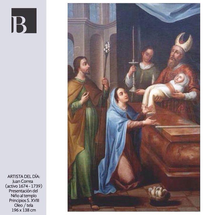 Juan Correa es uno de los artistas del S. XVIII más estudiados debido que fue muy prolífico. Esta escena retrata la presentación del niño Jesús después de 40 días de su nacimiento, 25 de diciembre.