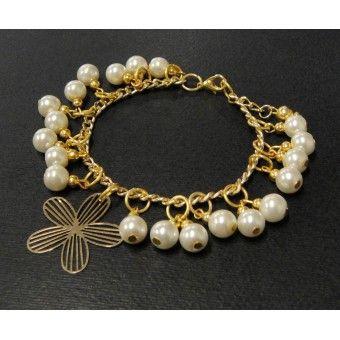 Pulsera de Moda con Perlas y Dije de Flor con Chapa de Oro