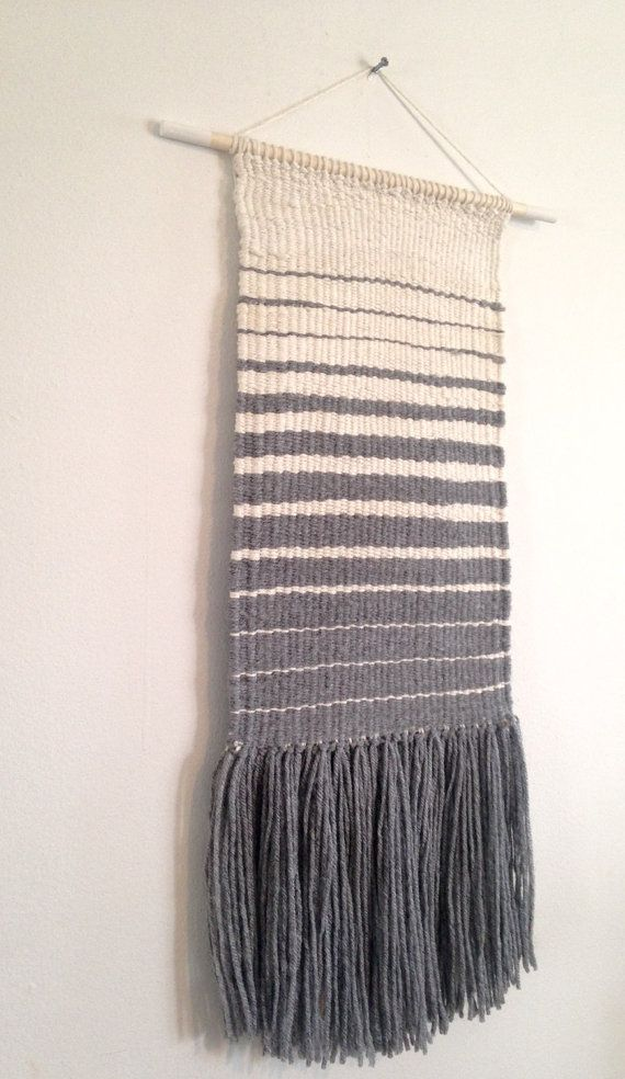 Weaved wall hanging manual loom weaved wall by Rowanstudios