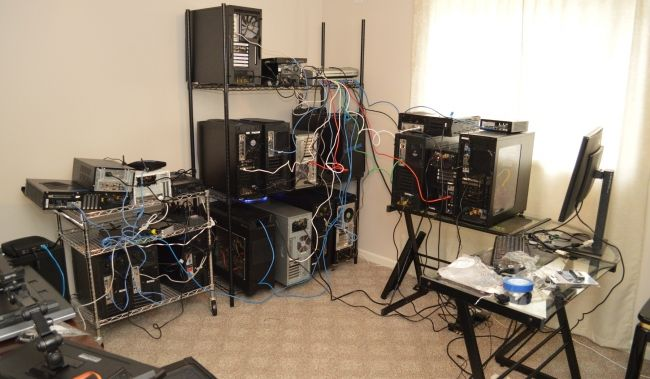 The massive new open-source, Linux test farm at the new Phoronix office.