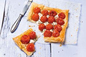 Geitenkaastaartje met geroosterde tomaatjes