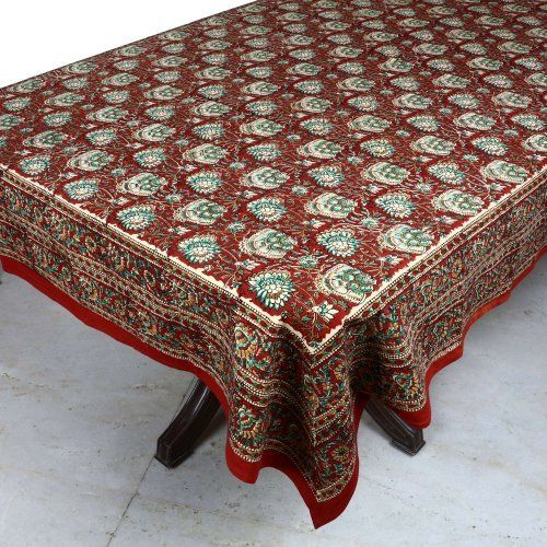 Handmade Indian X Tablecloth   Red, Green And Cream Beautiful Floral Cotton
