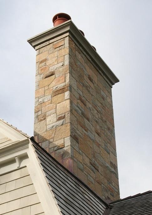 Stone Chimney Caps : Natural stone veneer chimney exteriors using