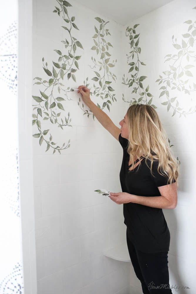 How To Paint Bathroom Tile Floor Shower Backsplash Painting Bathroom Tiles Stencils Wall Wall Stencil Patterns