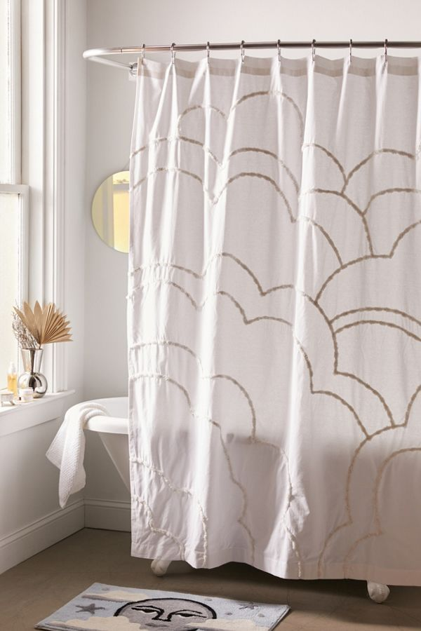 Aella Tufted Cloud Shower Curtain Curtains Minimalist Bathroom