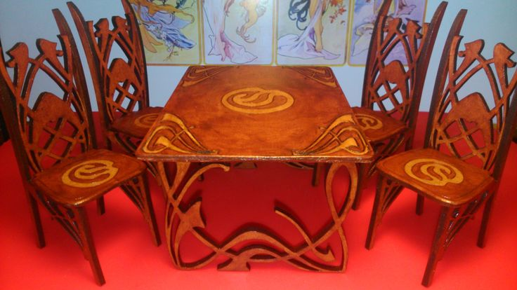 Art Nouveau dining table with 4 chairs 1/12 miniature by Amatheria