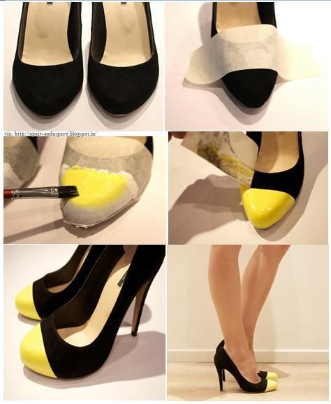 A way to spice up some Goodwill heels: Diy Shoes, Good Ideas, Neon Heels, Diy Fashion, New Life, Black Heels, Pump, Diyfashion, Old Shoes