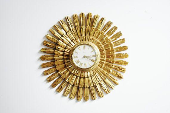 MidCentury Syroco Sunburst Clock by thewhitepepper on Etsy, $165.00
