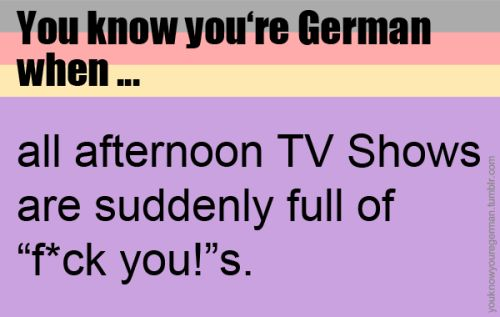"""Du weißt, dass du Deutsch bist, wenn …alle Fernsehsendungen am Nachmittag auf einmal voll mit """"F*ck dich!""""s sind.(Submitted by anonym)"""