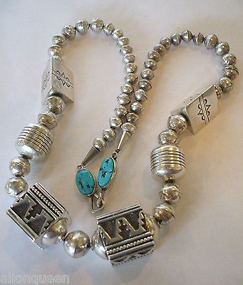 Vintage TOMMY SINGER Sterling Silver NECKLACE Stamped & Overlay BEADS with Turquoise clasp.