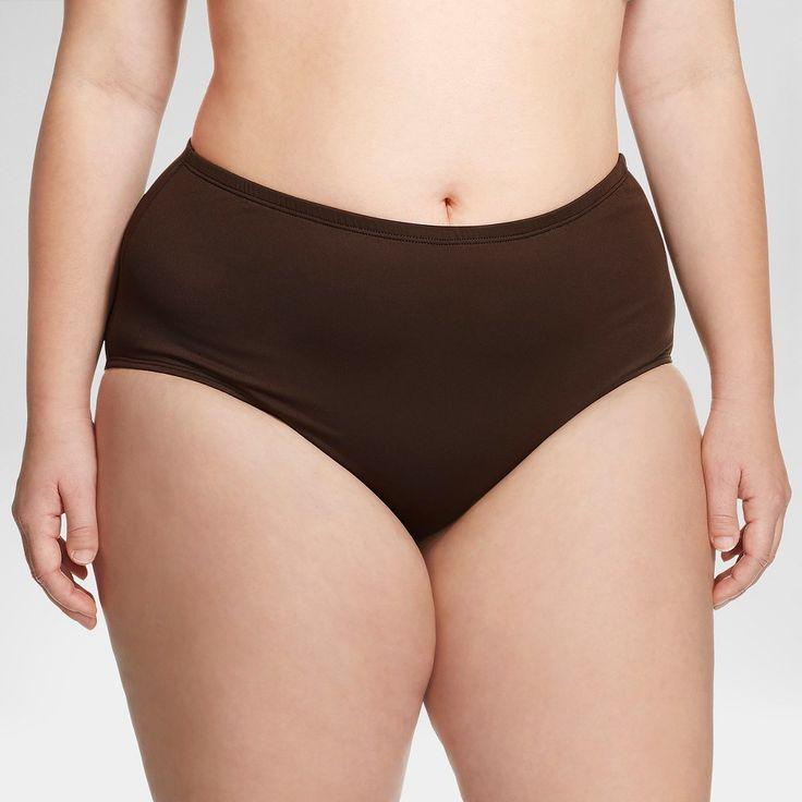 Women's Plus Size Hipster Swim Bottom Brown