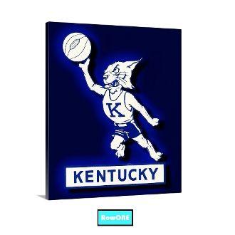 UK Wildcats basketball art, vintage Kentucky basketball art, UK Wildcats man cave ideas, vintage Wildcat logos, Row One Brand, Row One, Row One sports art, college basketball art, man cave ideas