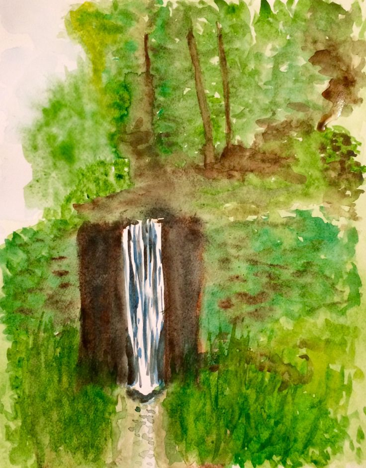 Waterfall in the woods, watercolour
