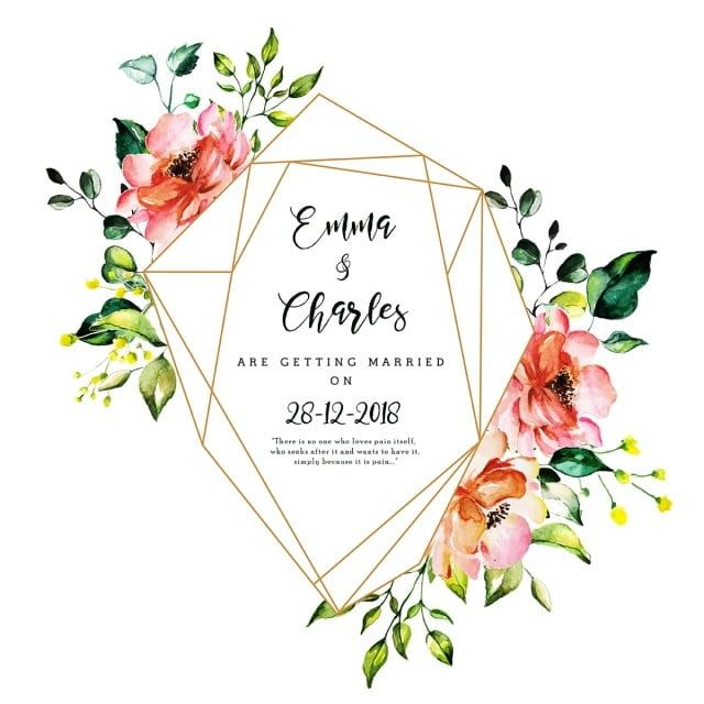 Beautiful Watercolor Floral Wedding Invitation Card Floral Clipart Date Happy Png And Vector With Transparent Background For Free Download Undangan Pernikahan Undangan Seni