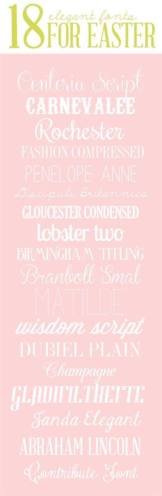 Eighteen Elegant Fonts for Easter