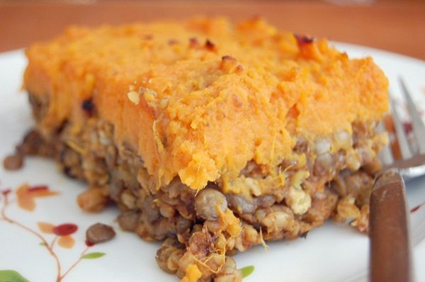 Vegetarian shepherd's pie with lentils, mushrooms and sweet potato.