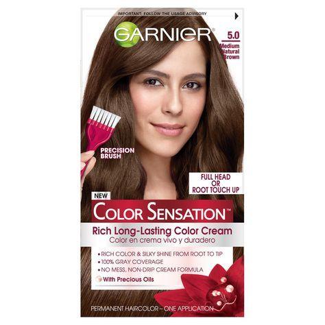Garnier Color Sensation Hair Color Rich Long-Lasting Color Cream 5.0 Medium Natural Brown