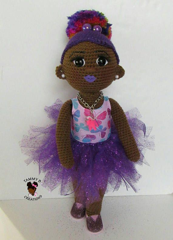 18 21 inch handmade African American Crochet Doll Handmade