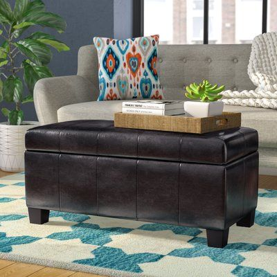 Latitude Run Connelly Faux Leather Storage Bench Color Brown Upholstered Storage Bench Leather Storage Bench