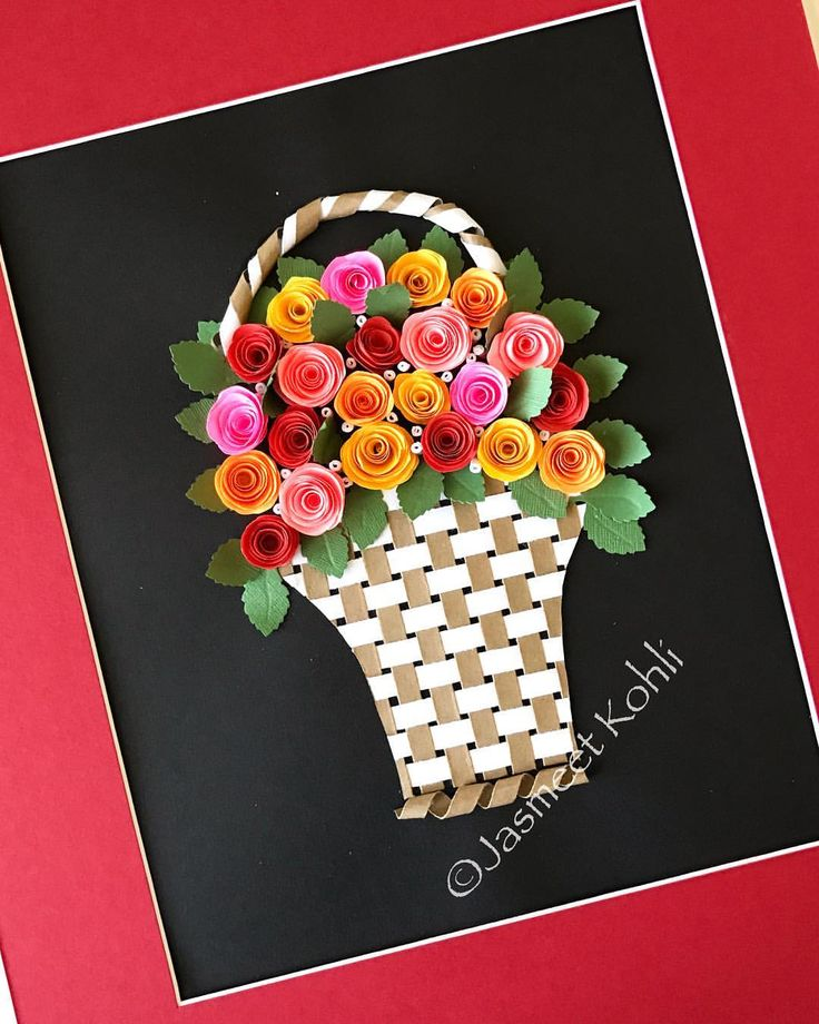 Rose basket, made to order! #floralart #makemehappy #paperart #quilling #instaart #handmade #etsy #paperquilling