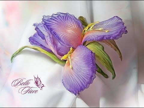 Цветы из шелка. Мастер класс «Ирис Aquarelle из шелка» - YouTube