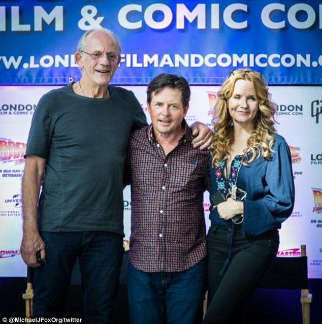 Reunited: (L-R) Christopher Lloyd, Michael J Fox and Lea Thompson are reunited for Back To The Future's 30th anniversary celebrations at London Film And Comic Con on Friday