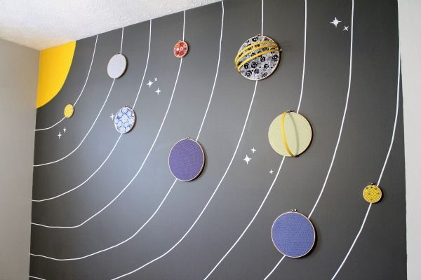 solar system wall made with embroidery hoops.  Mason would love this