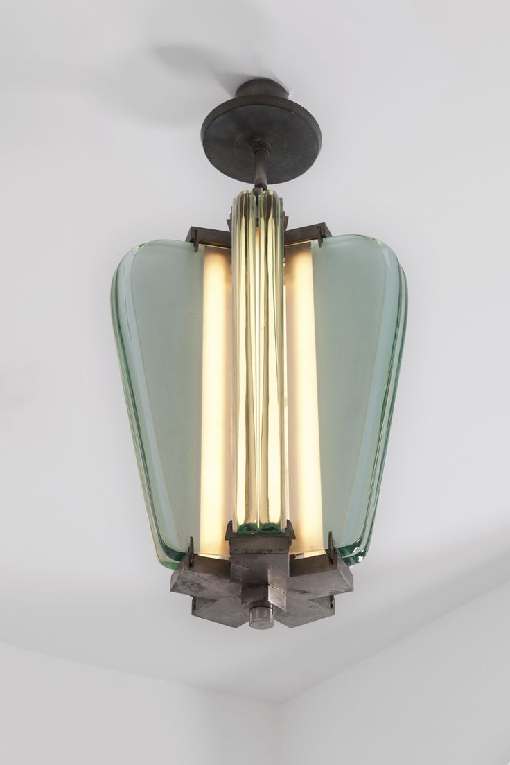 Pietro Chiesa; Glass and Nickeled Brass Ceiling Light for Fontana Arte, c1935