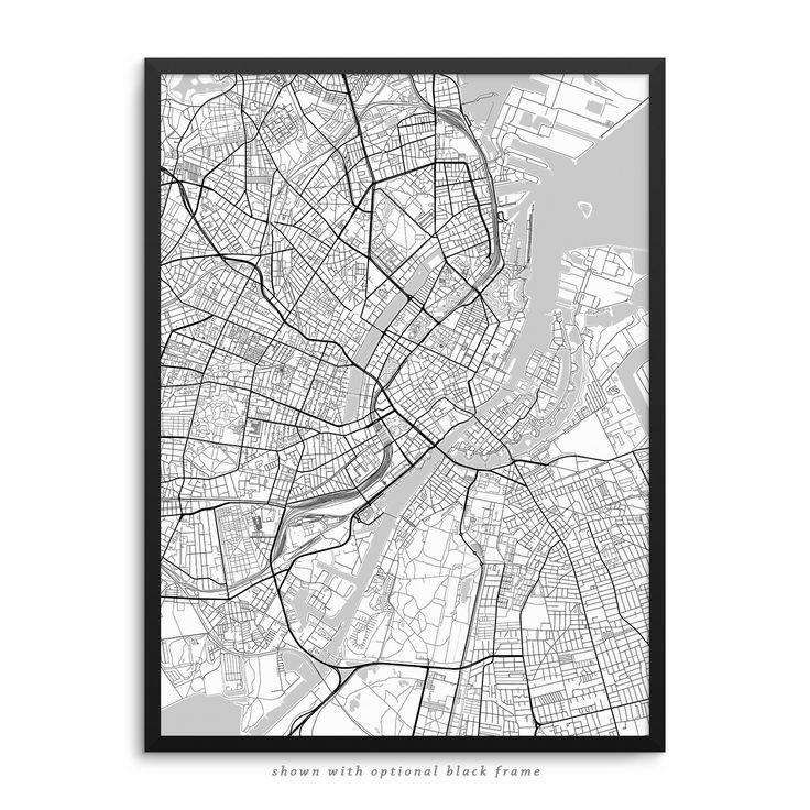 Copenhagen Denmark City Street Map White Poster