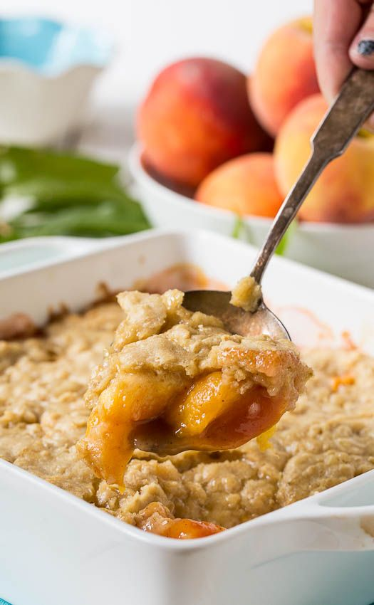 Oatmeal Cookie Peach Cobbler | Spicy Southern Kitchen