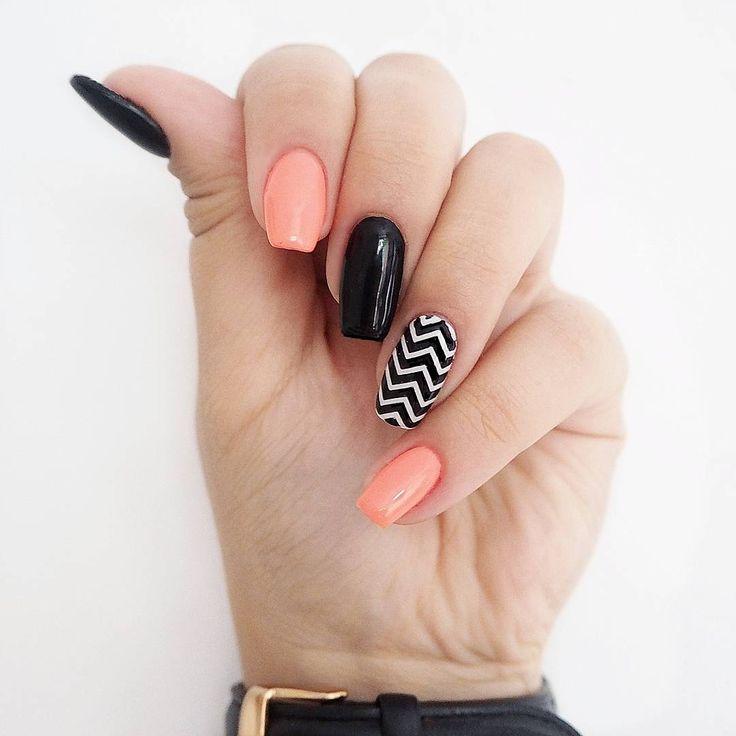 #paznokcie #manicure #hybrydy #inspiracje #nails #patamaluje #patabloguje #nailsart  #nails #manicure #patamaluje #semilac #semigirls #hybrid #uv #led #pattern #zigzag #handmade #diy #lacquer #hybrydy #orangelollipop #blackdiamond #shape #squared