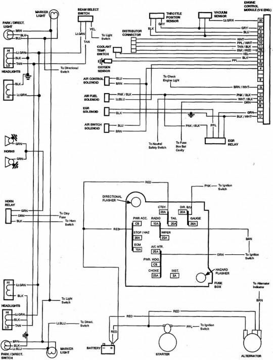 85 chevy truck wiring diagram chevrolet truck v8 1981 1987  at Wiring Diagram Starting Circuit 83 Gmc 6 2