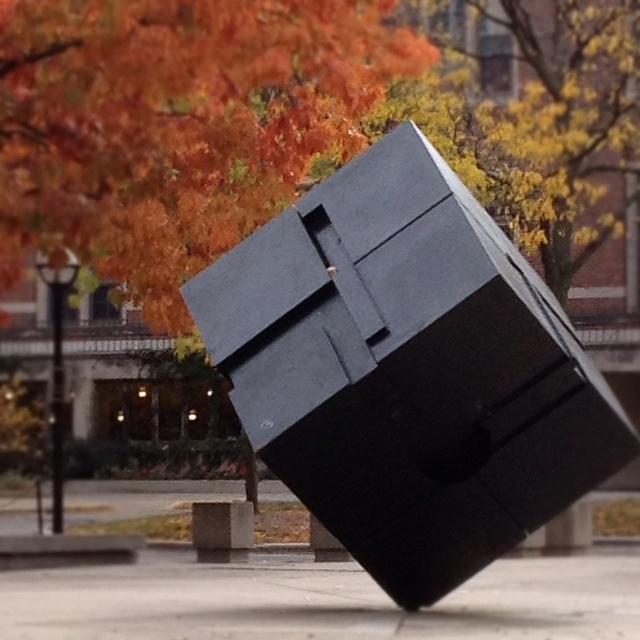 Autumnal version of The Cube on the University of Michigan campus..