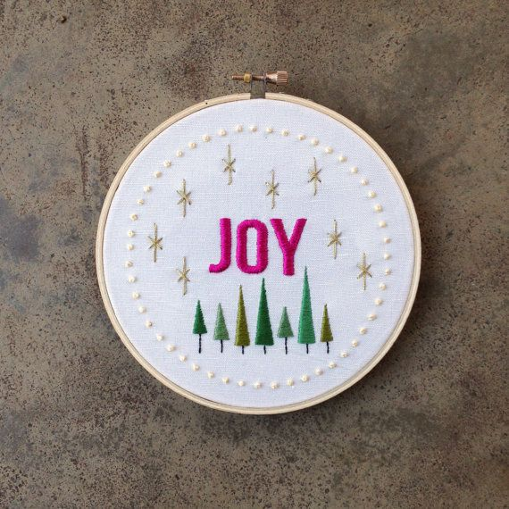 Joy Embroidery Pattern   Modern Hand Embroidery Kit   Beginning Embroidery   Christmas Embroidery Design   Holiday Decoration   Gift Idea