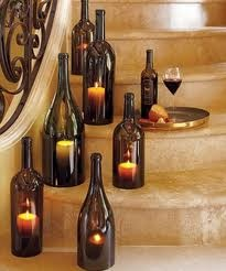 wine bottle with candles, bottom of bottle cut off - Naughty Boy Vineyards tasting room: Hopland, CA 707-744-1060