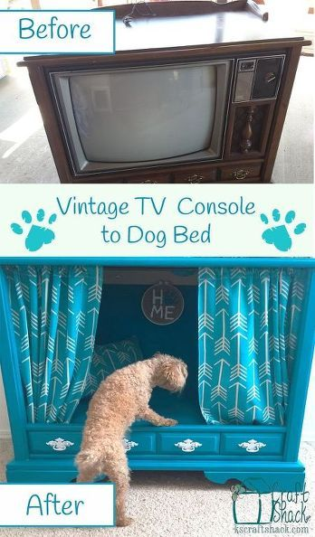 Use an vintage TV console as the foundation for a fabulous dog bed!