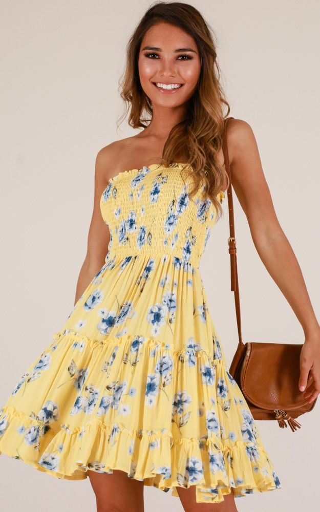 Deep Dive Dress In Yellow Floral Produced – Olga